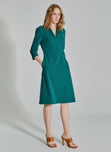 People By Fabrika Kesik Detaylı Elbise Yeşil